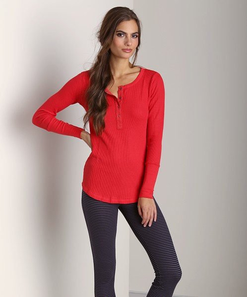 Splendid Thermal Long Sleeve Henley Vermillion