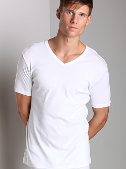 BOSS Hugo Boss Pure Cotton V Neck Shirt White