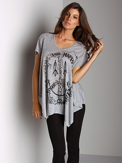 Lauren Moshi Camilla Triangle Front Drape Tee Heather Grey
