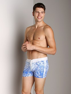 Sauvage Indigo Banded Swim Trunk Blue