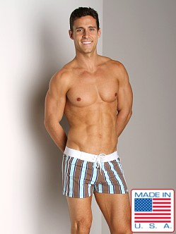 Sauvage Banded Swim Trunk Khaki Green Stripe