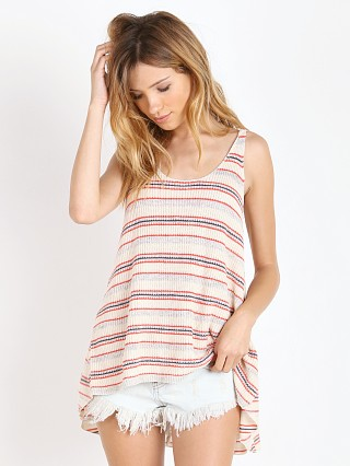 Model in ivory combo Free People Stripe Sailor Tank