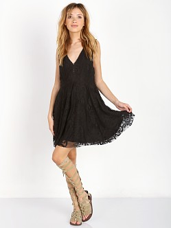 Free People Embroidered Mesh Reign Over Me Dress Black