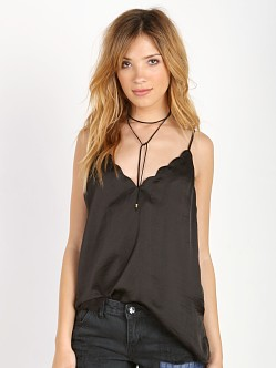 Free People Sensual Satin Scallop Deep V Cami Black