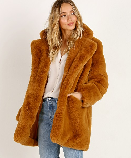 APPARIS Sophie Faux Fur Coat Chestnut