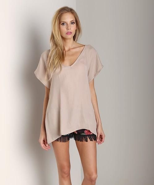 Show Me Your Mumu Original Mumu Taupe Silky Satin