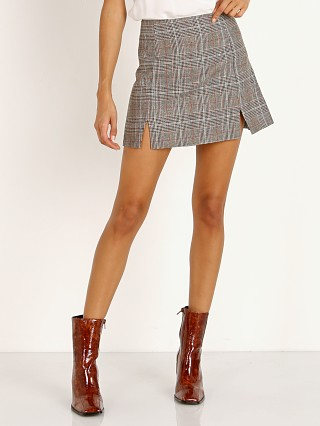 Model in tobacco glen plaid Capulet Rosa Skirt
