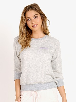 Model in heather grey Spiritual Gangster Namaste Patch Sweater