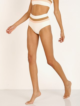 L Space Portia Stripe Bikini Bottom Cream