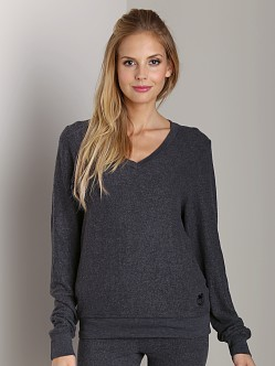 Wildfox Couture Baggy Beach V-Neck Basic Sweater Clean Black