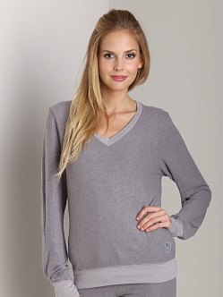 Wildfox Couture Baggy Beach V-Neck Basic Sweater Vintage Grey