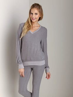 WILDFOX Baggy Beach V-Neck Basic Sweater Vintage Grey