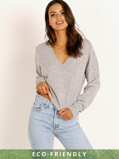 NAADAM Cashmere Deep V-Neck Crop Shoulder Pullover Cement