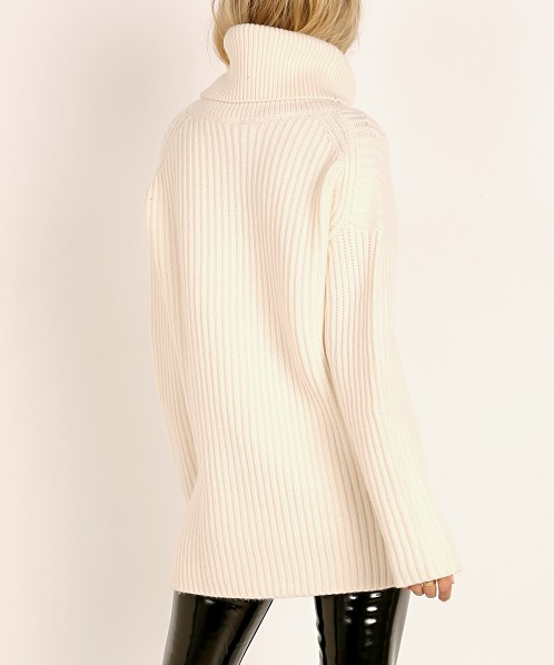 NAADAM Cashmere Cut Out Turtleneck Pullover White