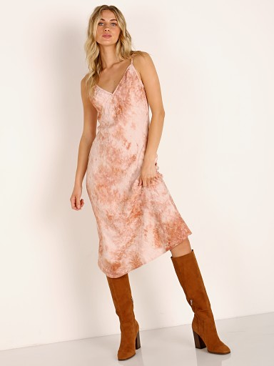 Model in coral wash LACAUSA Moonstone Slip Dress