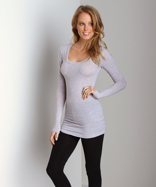 Splendid Layers Long Sleeve Heather Grey