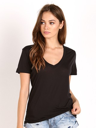 Splendid Very Light Jersey V Neck T-Shirt Black