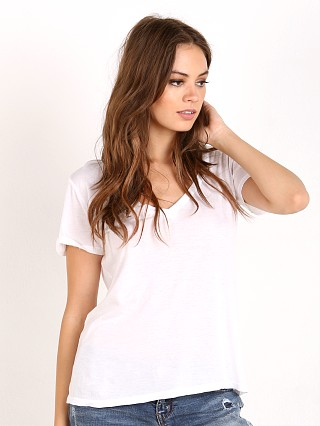 Splendid Very Light Jersey V Neck T-Shirt Whit
