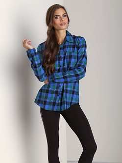 Splendid Flannel Shirt Cobalt