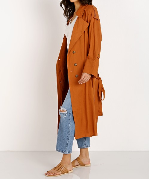 Jen's Pirate Booty Basic Instinct Trench Coat Sunburn Linen