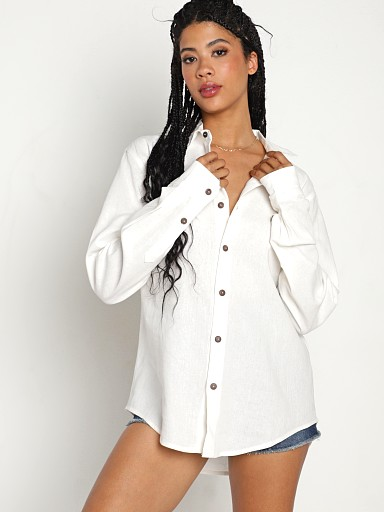 Jen's Pirate Booty Bittersweet Button Down White Linen
