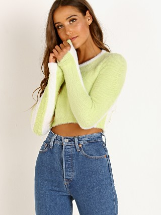 For Love & Lemons Knitz Alanis Stripe Crop Lime