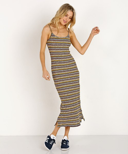 LACAUSA Holly Rib Midi Dress Tigerlily Stripe