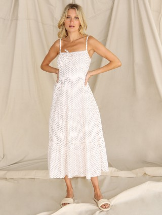 Model in belmond dot Faithfull the Brand Alexia Midi Dress