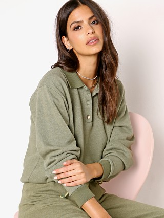 Model in basil DONNI. Vintage Fleece Polo Sweater