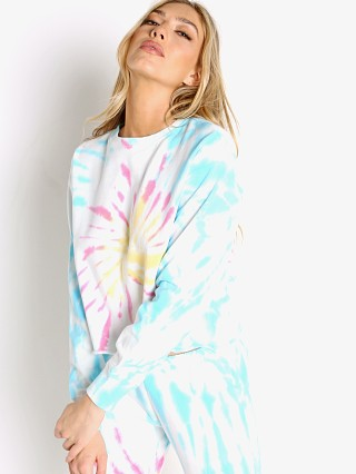 Model in sunburst tie dye Spiritual Gangster Follow Mazzy Pullover Sweater Sunburst Tie Dy