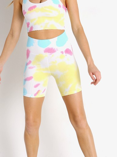 Model in sunburst tie dye Spiritual Gangster Bike Short
