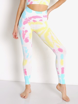 Model in sunburst tie dye Spiritual Gangster Love Sculpt Legging
