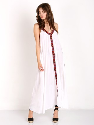 9Seed Portofino V Neck Maxi with Peruvian Trim White