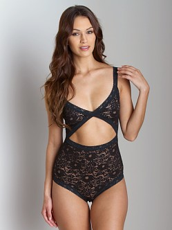 Lonely Gardenia Lace Bodysuit Black