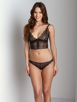 Lonely Leavers Lace Long Line Bra Black