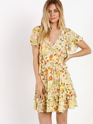 Spell & The Gypsy Sayulita Short Sleeve Frill Mini Dress Sunflow