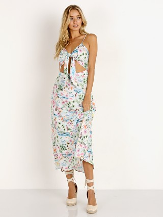 Model in tiki time gauze Show Me Your Mumu Moby Tie Maxi