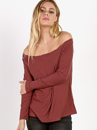 Model in dusty merlot dume Nation LTD Chelsea Off the Shoulder
