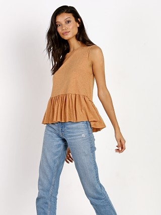 Nation LTD Sleeveless Peplum Crop Cognac