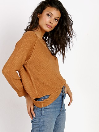 Nation LTD Park Slope Boxy V-Neck Sweater Cognac