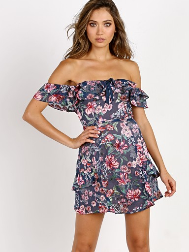 For Love & Lemons Flora Off Shoulder Mini Dress Navy Floral