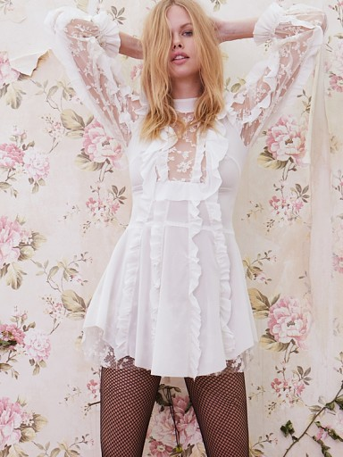 For Love & Lemons Rosebud Ruffle Mini Dress Ivory