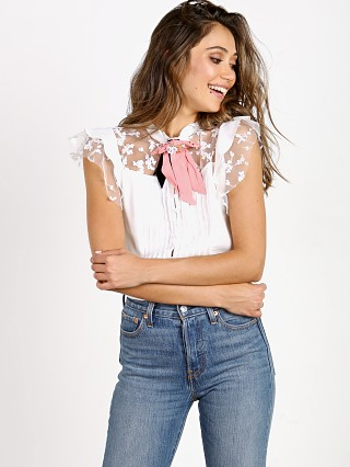 For Love & Lemons Rosebud Embroidery Blouse Ivory