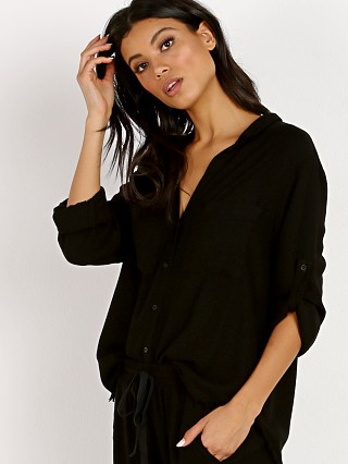 Bella Dahl Two Pocket Fray Hem Shirt Black