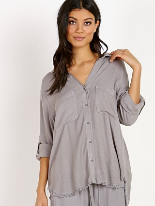 Bella Dahl Two Pocket Fray Hem Shirt Stone Grey