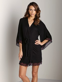 Eberjey Mae Kimono Robe with Lace Black/Raspberry