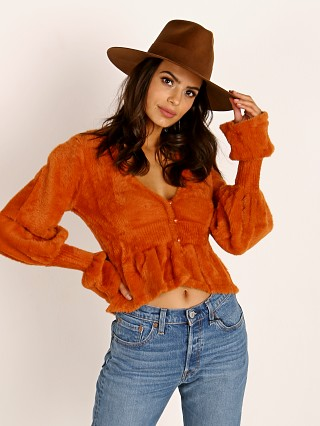 For Love & Lemons Chateau Mohair Peplum Cardigan Caramel