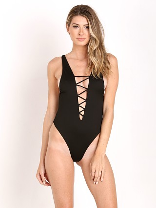 Indah Rainey Lycra Lace Up One Piece Black