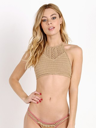 She Made Me Halter w/ Open Crochet Detail Sand