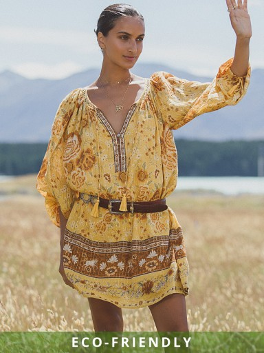 Model in sunflower Spell Mystic Tunic Dress